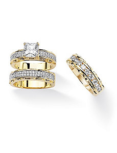 Princess-Cut and Round Cubic Zirconia Ring Set by PalmBeach Jewelry