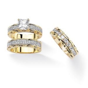 Princess-Cut and Round Cubic Zirconia Ring Set