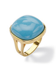 Simulated Turquoise Pillow Ring by PalmBeach Jewelry