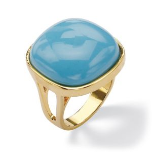 Simulated Turquoise Pillow Ring