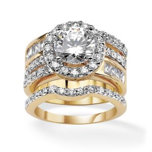 Cubic Zirconia Circle Wedding Set