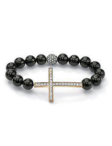 Horizontal Cross Onyx Bracelet by PalmBeach Jewelry