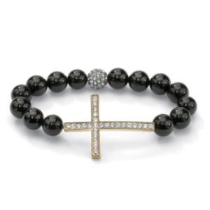 Horizontal Cross Onyx Bracelet