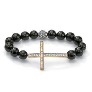 Horizontal Cross Onyx Bracelet