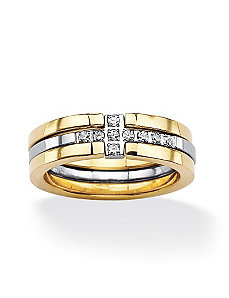 Horizontal Cross Cubic Zirconia Ring Set by PalmBeach Jewelry