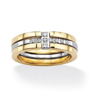 Horizontal Cross Cubic Zirconia Ring Set