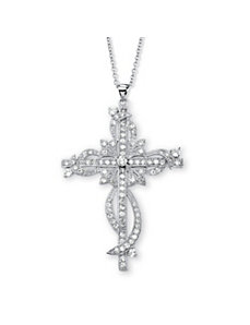 Cubic Zirconia Cross Pendant by PalmBeach Jewelry