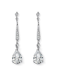 Cubic Zirconia Pierced Earrings by PalmBeach Jewelry