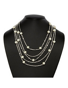 Simulated Pearl Multichain Necklace by PalmBeach Jewelry