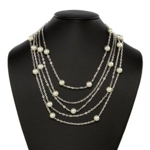 Simulated Pearl Multichain Necklace