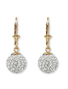 18k Gold over Silver Crystal Earrin by PalmBeach Jewelry