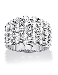Cubic Zirconia Band Ring by PalmBeach Jewelry