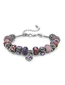 Glass and Crystal Charm Bracelet by PalmBeach Jewelry