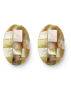 Mother-Of-Pearl Pierced Earrings by PalmBeach Jewelry