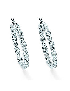 Cubic Zirconia Hoop Pierced Earring by PalmBeach Jewelry