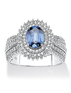 Lab-Created Sapphire and Cubic Zirc by PalmBeach Jewelry