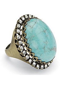 Simulated Turquoise & Crystal Ring by PalmBeach Jewelry