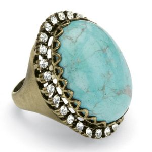 Simulated Turquoise & Crystal Ring