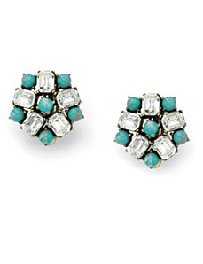 Sim. Turquoise & Crystal Earrings by PalmBeach Jewelry