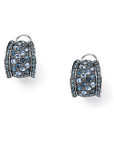 Crystal Pierced Omega Back Earrings by PalmBeach Jewelry