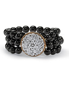 Onyx Stretch Bracelet by PalmBeach Jewelry