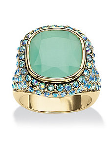 Simulated Cat's-Eye & Crystal Ring by PalmBeach Jewelry