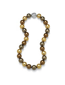 Cocoa-Colored Shell Pearl Necklace by PalmBeach Jewelry