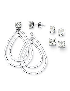 Cubic Zirconia Pierced Earrings Set by PalmBeach Jewelry