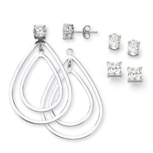 Cubic Zirconia Pierced Earrings Set
