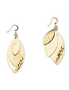 Triple-Leaf Drop Pierced Earrings by PalmBeach Jewelry