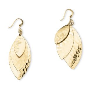 Triple-Leaf Drop Pierced Earrings