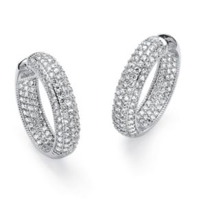 Cubic Zirconia Hoop Pierced Earring
