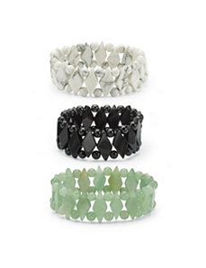 Jade Stretch Bracelet Set by PalmBeach Jewelry