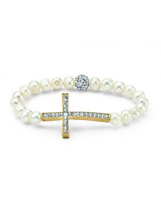 Cultured Pearl Cross Bracelet by PalmBeach Jewelry