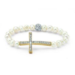 Cultured Pearl Cross Bracelet