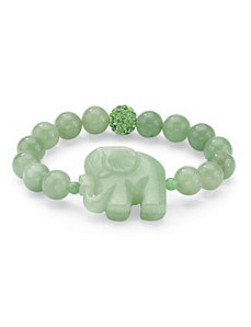Green Jade Elephant Bracelet by PalmBeach Jewelry