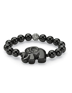 Black Jade Elephant Bracelet by PalmBeach Jewelry