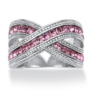 Pink Cubic Zirconia Crossover Ring