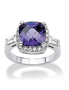 Purple & White Cubic Zirconia Ring by PalmBeach Jewelry