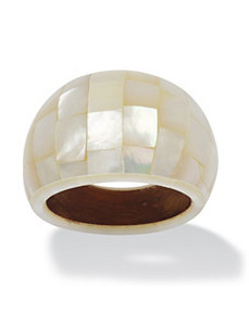 White Mother-Of-Pearl Dome Ring by PalmBeach Jewelry