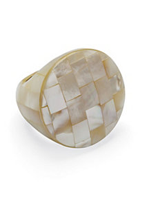 White Mother-Of-Pearl Circle Ring by PalmBeach Jewelry