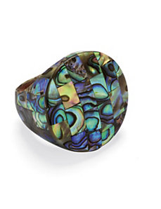 Abalone Mother-Of-Pearl Circle Ring by PalmBeach Jewelry