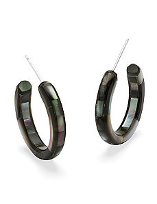 Black Mother-Of-Pearl Hoops by PalmBeach Jewelry