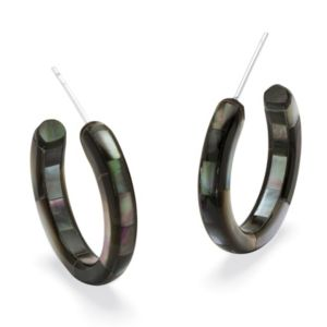 Black Mother-Of-Pearl Hoops