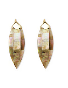 Beige Mother-Of-Pearl Earrings by PalmBeach Jewelry