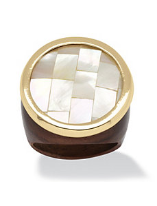 White Mother-Of-Pearl Ring by PalmBeach Jewelry