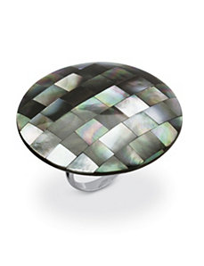 Black Mother-Of-Pearl Cocktail Ring by PalmBeach Jewelry