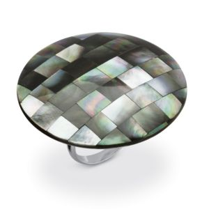 Black Mother-Of-Pearl Cocktail Ring