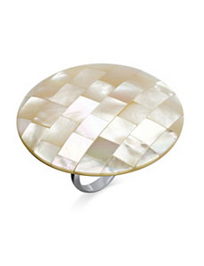 White Mother-Of-Pearl Cocktail Ring by PalmBeach Jewelry