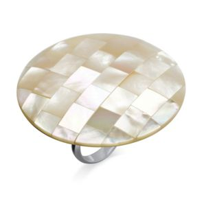 White Mother-Of-Pearl Cocktail Ring